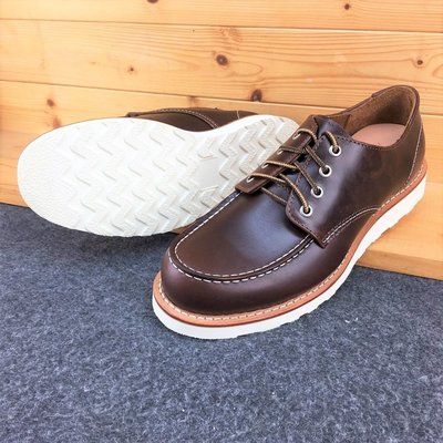 咖啡 (8106版型) 875短筒 進口油蠟皮 白底 固特異縫製 純橡膠底 牛皮厚底靴 工作靴 美式牛皮靴