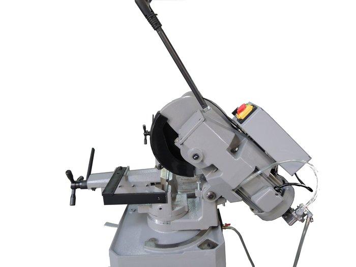 白鐵切割機圓鋸機不鏽鋼金屬金工角度切斷機送歐洲350MM切鐵鋸片2段變速42~84RPM慢速無火花防漏電負載開關富上機械