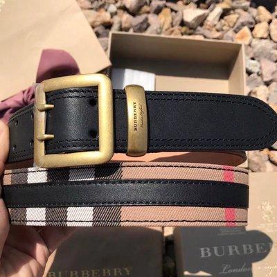 【全新正貨私家珍藏】BURBERRY HOUSE 女款兩色格紋棉質皮帶/腰帶((3.5cm))