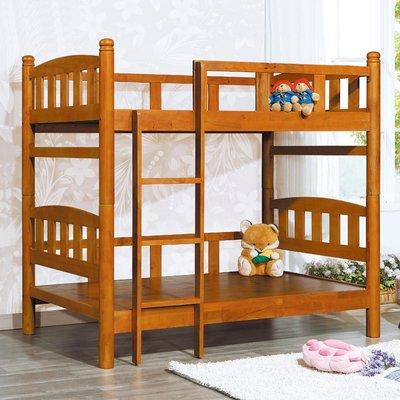 【在地人傢俱】19 歡樂購-201圓柱全實木3.5尺雙層床/雙人上下舖床架 KH172-1