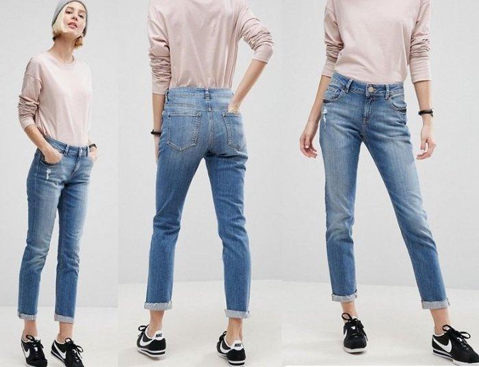◎美國代買◎ASOS淺藍白刷破微刷破反摺褲管復古甜心高腰九分牛仔褲~歐美街風~大尺碼