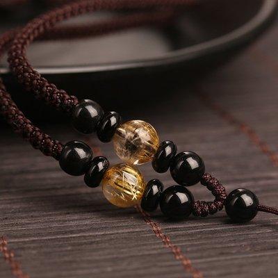 Lissom韓國代購~金髮晶掛件配繩手工編織項鍊繩玉佩佛吊墜掛繩翡翠蜜蠟項鍊繩男女