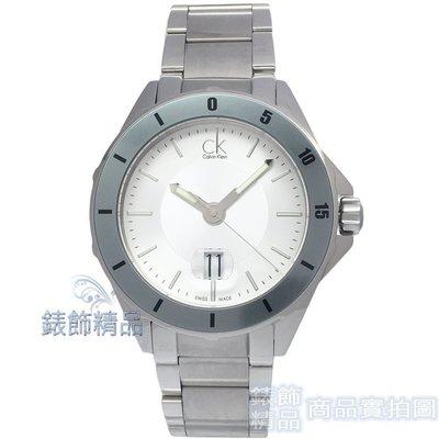 【錶飾精品】CK K2W21Y46 大錶徑 銀白面灰框鋼帶 大日期男錶 全新原廠正品