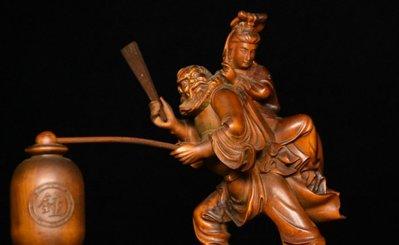 ㊣姥姥的寶藏㊣回流舊藏 老件黃楊木精雕  馬印章(非樟木充當)