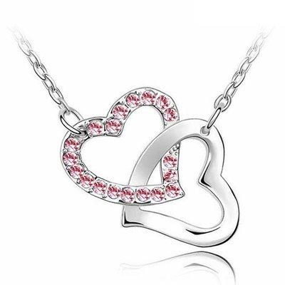 【ASIAHITO】SWAROSVKI 同款同材質心連心粉紅鑽石項鍊(HEART TO HEART