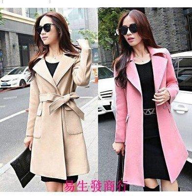 【易生發商行】雙面呢大衣女裝歐美中長款修身顯瘦系帶雙面絨大衣毛呢外套F6106