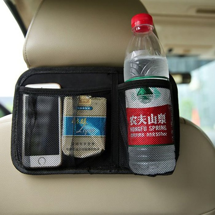 車用收納【ZCR007】車用椅背收納袋(黑) 收納袋 掛式收納袋 大容量 車用 旅行 飲料架 收納-BOTTLE