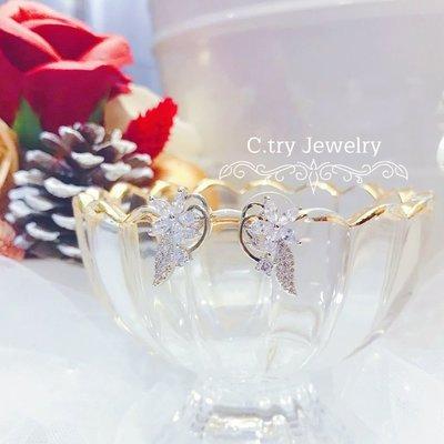 💎1200、淨透純粹伊甸園聖果鑽鑲輕奢耳環💎正韓飾品 耳環 珠寶 925純銀針 EE021