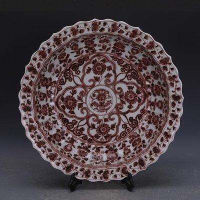 【三顧茅廬 】元代釉里紅花卉紋大號刮徑瓷盤果盤 出土官窯古瓷器手工古玩收藏