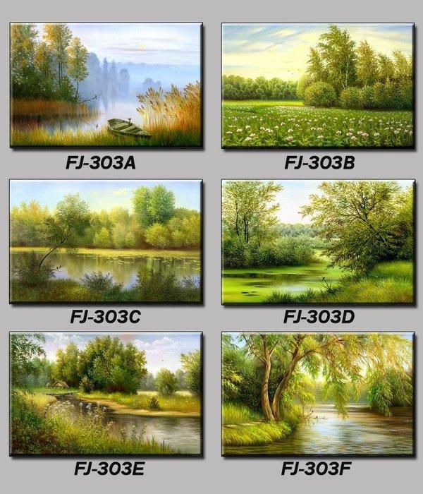 三幅一組油畫布 植葉樹林河流景觀風景 畫芯/畫布/30X40☺暖暖屋☺傢居藝術館