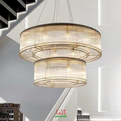 【美學】北歐後現代環形不銹鋼吊燈美式客廳樣板房售樓部圓形水晶燈具MX_392