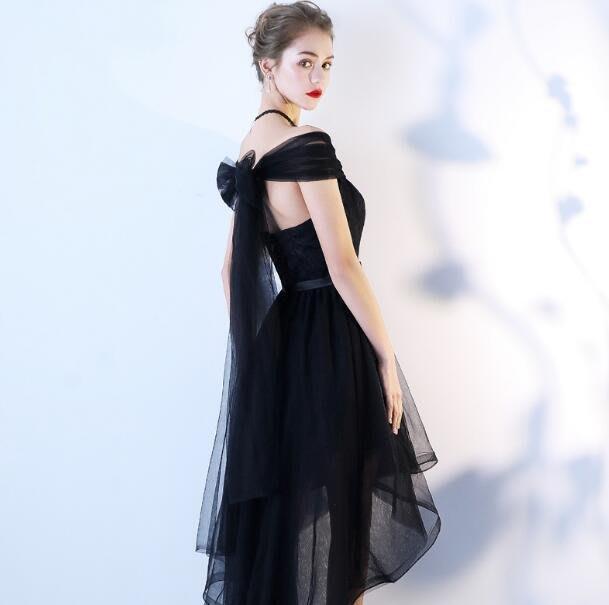 洋裝 韓 黑色小禮服 短款顯瘦夏 新款宴會晚宴韓版聚會生日派對連身裙—莎芭