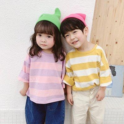 【可愛村】韓系寬鬆條紋長袖上衣 童裝 長袖上衣 T-shirt