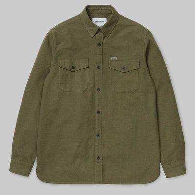 carhartt wip vendor 綠色 藍色 灰色 法蘭絨 雪花 長袖 口袋 咬標 襯衫