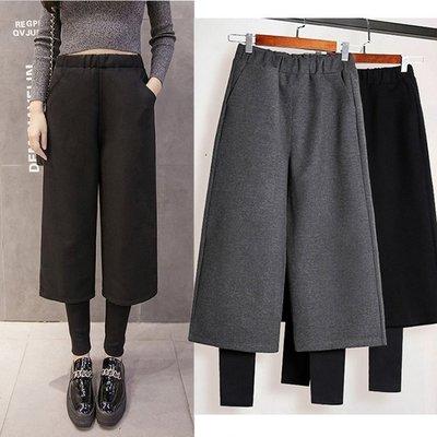 【JD Shop】韓風假兩件厚毛呢闊腿褲 寬褲 內搭褲 鬆緊腰七八分褲