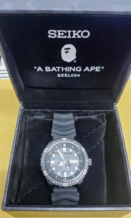 Bape x Seiko 2020 聯名 猿人 SZEL004 ABC Camo 黑迷彩 自動上鏈 機械錶 潛水錶 200M 4R36 日本製 日製 黑色