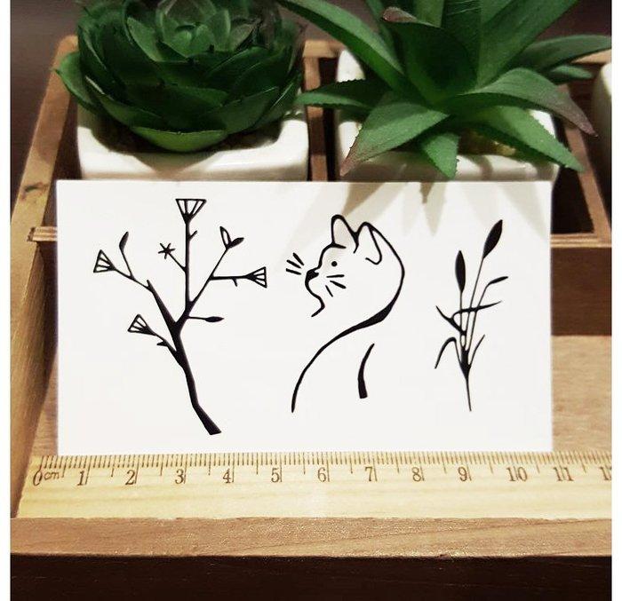 【萌古屋】L系列簡約線條貓花草 - 男女防水紋身貼紙刺青貼紙K31