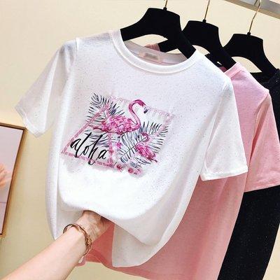亮絲短袖t恤女 夏裝2019新款寬鬆圓領釘珠體恤半袖冰絲針織上衣服