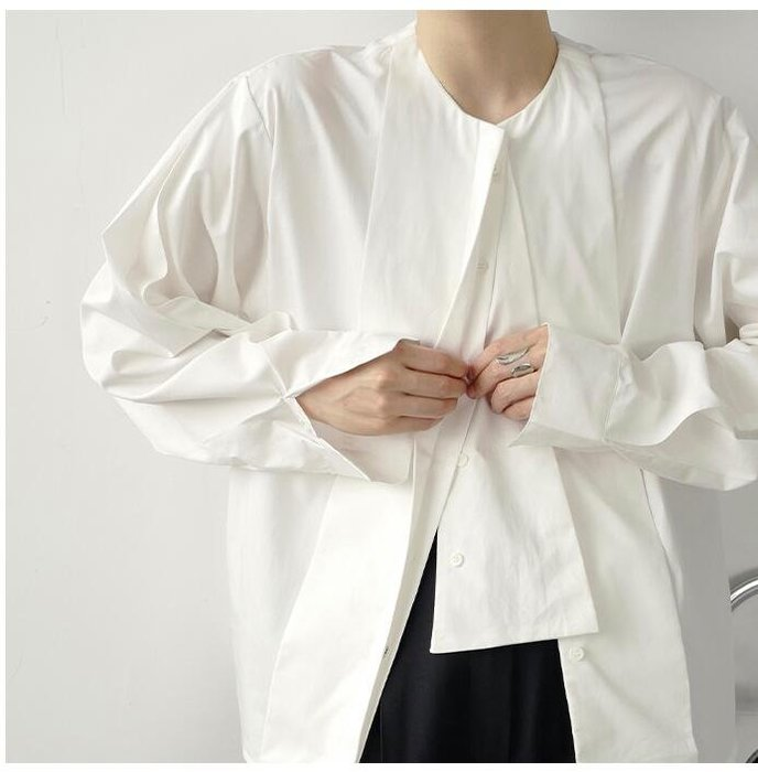 FINDSENSE X  男士 薄款 長袖寬松 休閑 短款前片拼接細節設計慵懶風襯衫