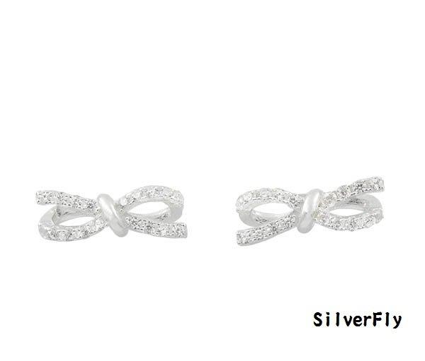 蝴蝶結針式純銀耳環-白《 SilverFly銀火蟲銀飾 》