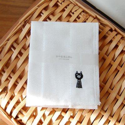 《散步生活雜貨-廚房散步系列》日本製 kaya 生地 敷巾 刺繡 黑貓 廚房用抹布 - CHIRPY CAT