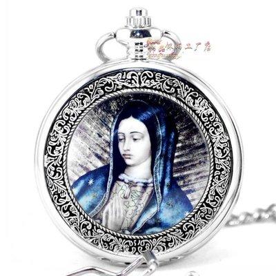 聖母瑪利亞/天主教神像47白 復古機械懷表 男女士古董禮品掛表