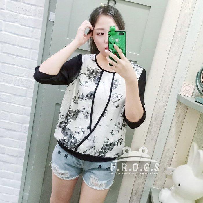 F.R.O.G.S T00091(二手)現貨特價-黑白配墨染花朵高質感七分袖寬鬆棉麻衣透氣罩衫休閒衣雪紡衣T恤棉衣