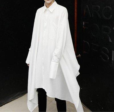 FINDSENSE Z1 韓國 時尚 潮 男 寬鬆大尺碼 純色素面 不規則下擺 前長後短 長袖襯衫 特色襯衫