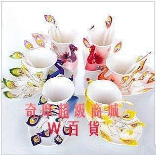 果凍[琺瑯瓷 孔雀杯 咖啡杯創意茶具茶杯 歐式陶瓷 法郎彩繪 套裝送朋友大禮杯