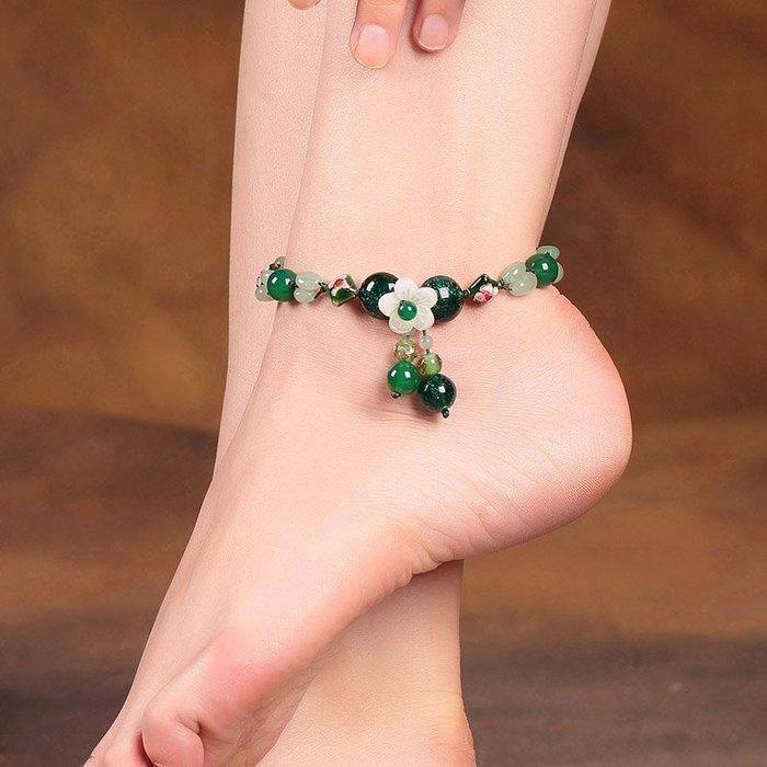 古風民族 風腳鏈簡 約綠色琉 璃復古腳 踝鏈性感 足鏈貝殼 腳飾品夏 季女