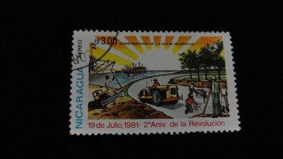 【大三元】美洲郵票-尼加拉瓜郵票--銷戳票1枚