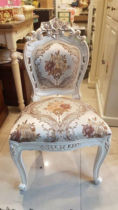 田園牙白布面化妝椅 鄉村風花布椅