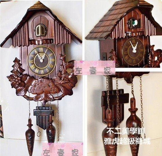 【格倫雅】^田園木制掛鐘布谷鳥鐘 咕咕鐘表 光控報時 手工雕刻工藝鐘錶MX229435