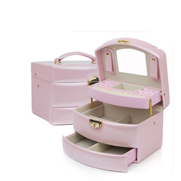 5Cgo【鴿樓】會員有優惠 40554823246 意式正品花紋皮革自動首飾盒扇形飾品盒珠寶盒婚慶生日禮物 首飾盒