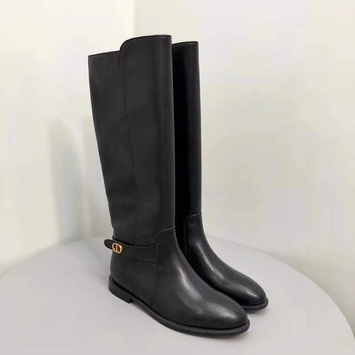 D家 2020s秋冬新款CD金屬扣中筒騎士靴長筒馬丁靴短靴子女