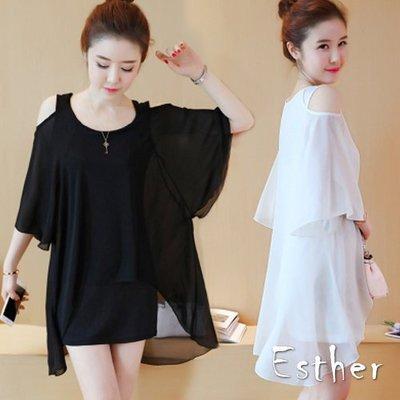 【Esther】(37322)(現貨)夏裝新款韓版假兩件套露肩藏肉雪紡連身裙露肩洋裝短裙(黑色 白色/M~5XL)
