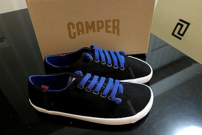 *Beauty*CAMPER黑色藍色鞋帶帆布鞋 EUR42 US9號 WE18 原價4280元