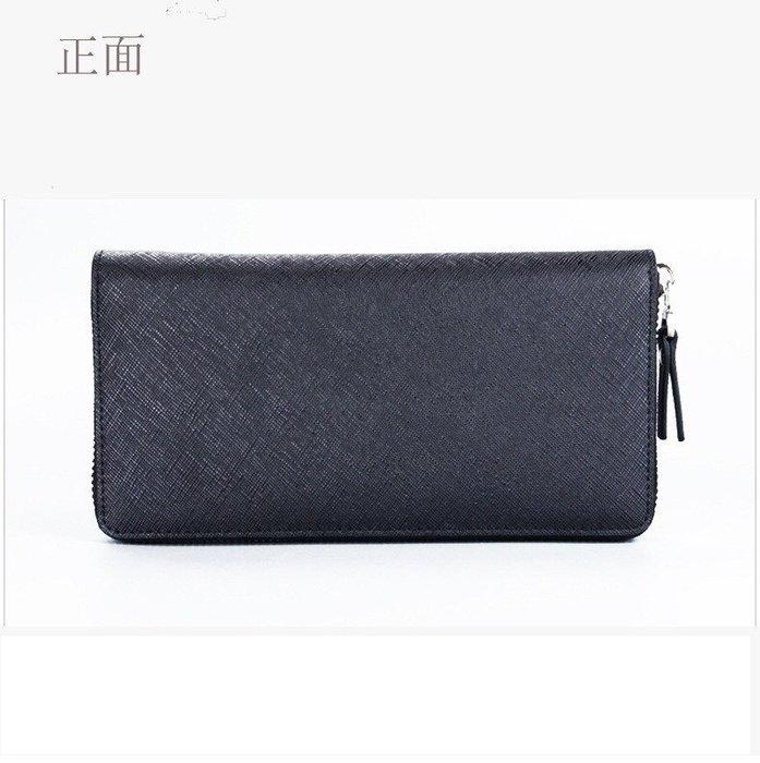 簡約時尚男士皮夾拉鍊包 十字紋設計 真皮牛皮 青年手拿包 錢包 長夾 拉鍊長夾 多卡夾 可放手機 - 經典黑色款