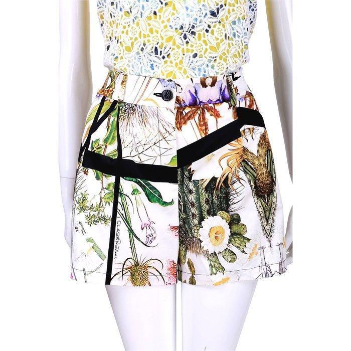 米蘭廣場 CLASS roberto cavalli 白色黑框印花短褲 1520579-52