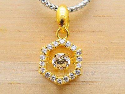 如玉坊珠寶   進口舞動水晶墜-六角型  黃金墜子  A&&