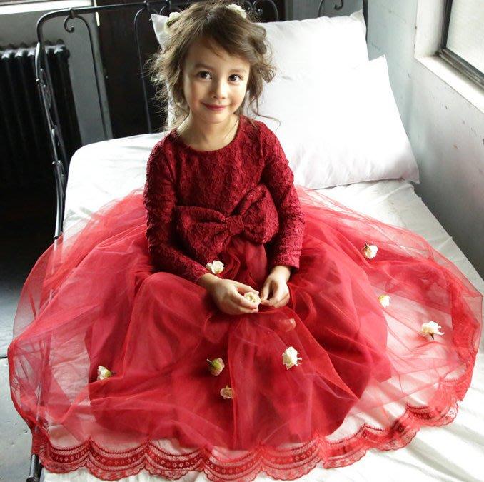 【Kathie Shop】秋冬新款韓版女童中大童長袖加絨蕾絲網紗公主禮服裙花童裙連衣裙洋裝