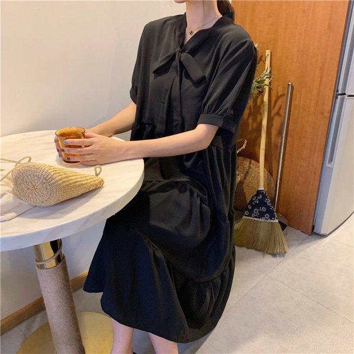 創意夏季女裝 大碼女裝胖mm夏新款寬松遮肚顯瘦法國小眾黑色短袖連衣裙減齡