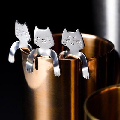 兒童貓湯匙 不銹鋼可愛攪拌湯匙 甜品咖啡勺調羹湯匙(4入任選)_☆找好物FINDGOODS ☆