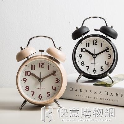 鬧鐘創意小鐘表學生簡約可愛時鐘靜音床頭台鐘兒童迷你臥室夜光鐘
