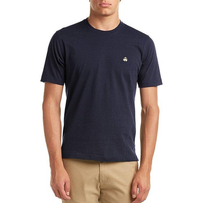 美國百分百【Brooks Brothers】布克兄弟 T恤 T-shirt 上衣 短袖 素面 logo 深藍 I391