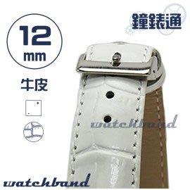 【鐘錶通】C1.20I《亮彩系列》鱷魚格紋-12mm 簡約白┝手錶錶帶/皮帶/牛皮錶帶┥