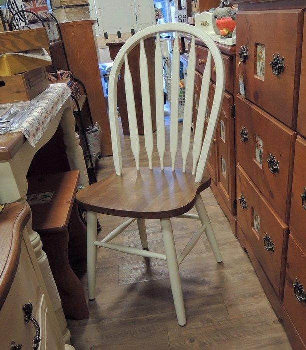 實木鄉村風餐椅 歐式餐椅 白色餐椅 雙色椅子 全實木餐椅 靠背椅 餐桌椅子 溫莎椅 溫莎餐椅 美觀、結實、舒適好坐