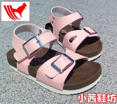 【小茜鞋坊??Y拍館】Rooster 女童 粉色.藍色 舒適厚底質感皮革.金屬釦 平底涼鞋 休閒涼鞋 MIT製造