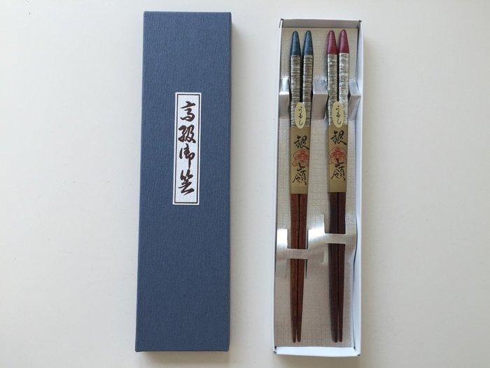 發現花園 日本選物~日本製 漆器  手繪 夫婦筷 公母筷~銀嶺