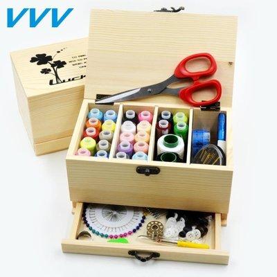實木針線盒套裝 韓國抽屜縫紉線盒 家用收納手縫線手工針線